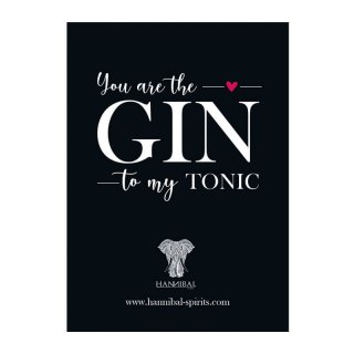 Postkarte  -You Are The GIN To My TONIC
